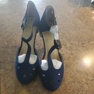 Modcloth T Strap Heels Navy Blue Size 9W